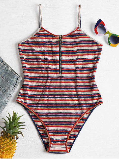 trendy Stripes Front Zip Slip Bodysuit - MULTI L Mobile