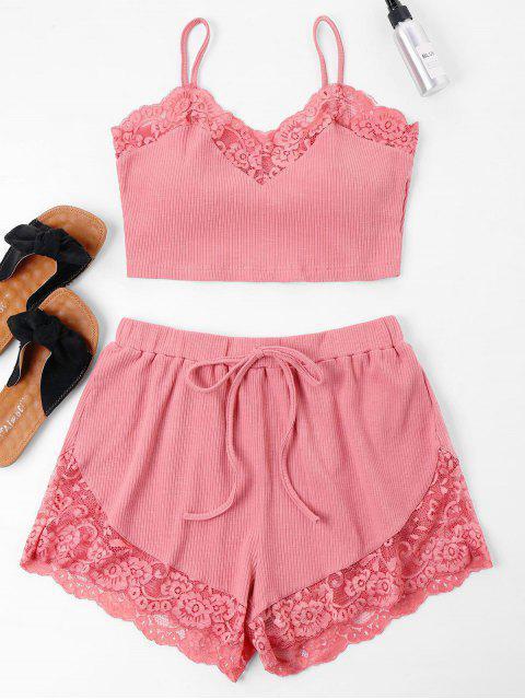 shops Lace Trim Cami Top and Shorts Set - FLAMINGO PINK L Mobile