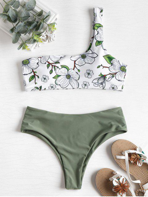 online High Leg Floral One Shoulder Bikini - WHITE S Mobile