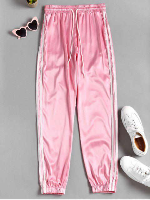 online High Waist Piping Pants - PIG PINK M Mobile