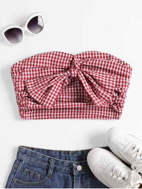 hot Pleated Gingham Bow Bandeau Top - MULTI L Mobile