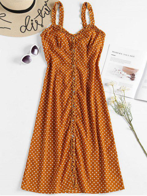 trendy Polka Dot Midi A Line Sun Dress - SCHOOL BUS YELLOW M Mobile