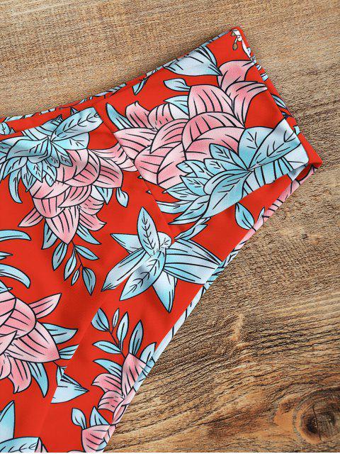 unique High Cut Floral Bandeau Bikini Set - RED S Mobile