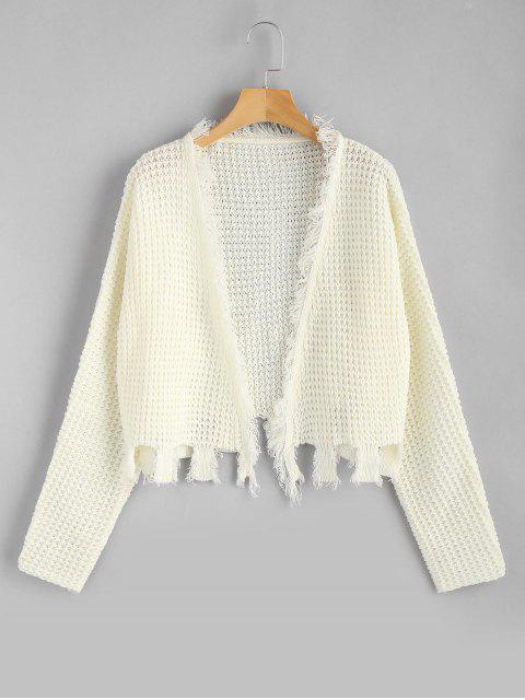 affordable Open Front Fringed Ripped Cardigan - WHITE ONE SIZE Mobile