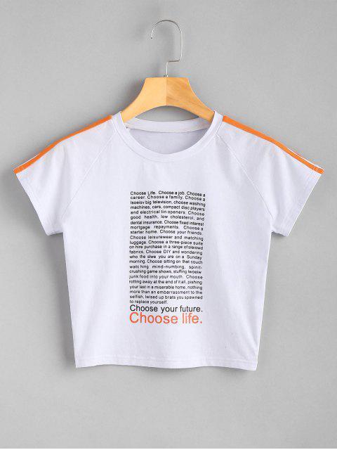 Camiseta estampada con estampado de letras - Blanco M Mobile
