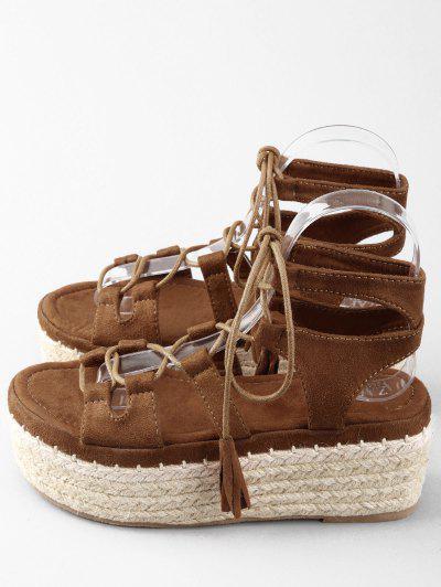 Sandálias de Tira de Ankle Crisscross com Plataforma em Espadrille - Marrom 39