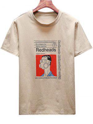 Karikatur-Mann mit Gazemasken-Druck-T-Shirt
