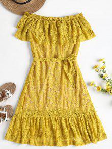 تراكب قبالة الكتف فستان الدانتيل - الأصفر L