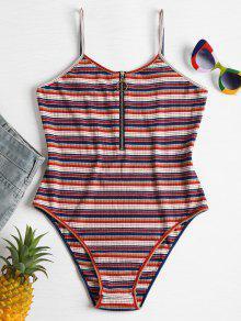 Stripes Front Zip Slip Bodysuit - متعدد L