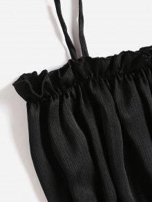 Shimmer Cami Crop Top S Frilled Negro 44ZrFqwx