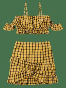S Dos De De Hombro Con Piezas Fruncido Oro Volantes Vestido Anaranjado vaxCw6pnqw
