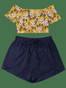 Pantal 243;n Y Dorado Corto L 243;n Top Marr Floral Estampado Corto Con FT1wW