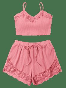 Cortos Y Rosa Top Pantalones Flamenco De De Recortado M Encaje Conjunto qaxTnS4f