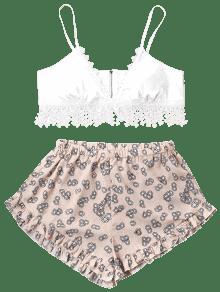 De Pantalones L Estampado Cremallera Blanco Con Top Y De Juego Estampado Cortos Oq8Pw5