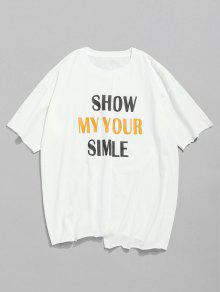Letra Blanco Edge Print Unfinished shirt T M FrWwv4qAFR