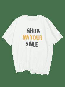Letra T M shirt Edge Print Blanco Unfinished HwBHqO6