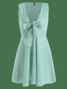 Minivestido Azul Verde Gingham Tie Delantero S Crxqrt