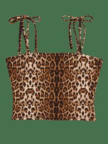 Estampado Y Cami Corto Top Leopardo Leopardo De Con L De Tirantes Corbata wFIFq1xg4