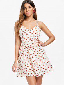 06742876395a 37% OFF  2019 Criss Cross Floral Print Dress In MILK WHITE