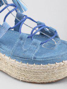 Tassels Ankle Strap Crisscross Platform Heel Sandals