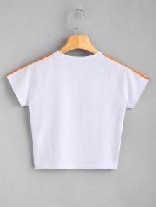 De Estampada Blanco S Estampado Camiseta Letras Con 6txwqqfz