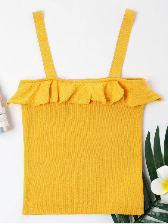 fashion Ruffles Knit Tank Top - BEE YELLOW XL