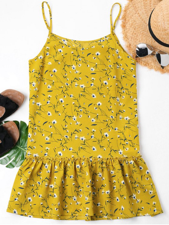 fashion Ruffles Floral Cami Dress - BRIGHT YELLOW XL