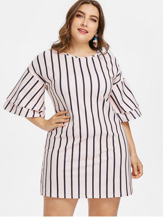 9ad7ec034 33% OFF] 2019 Vestido Plus Size Em Camadas E Listrado Com Rosa Claro ...