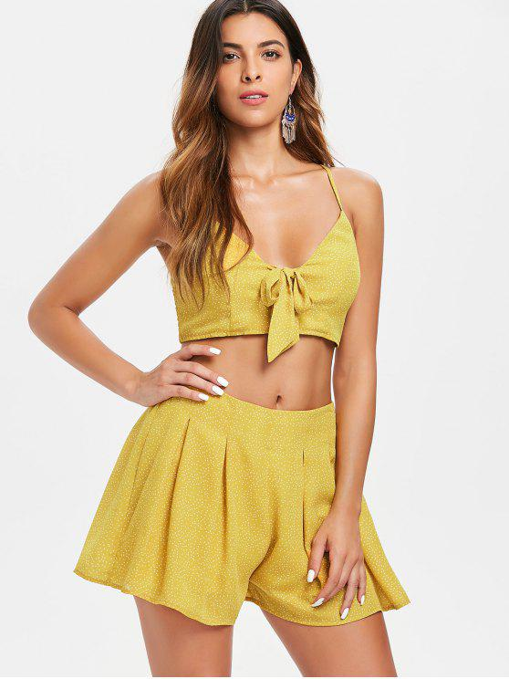 hot Dots Tie Front Top and Shorts Set - BRIGHT YELLOW L