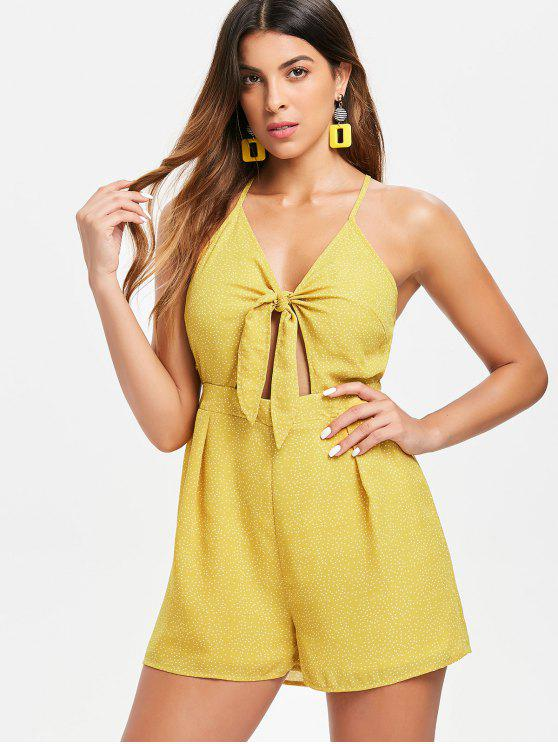 lady Tie Front Criss Cross Romper - BRIGHT YELLOW M