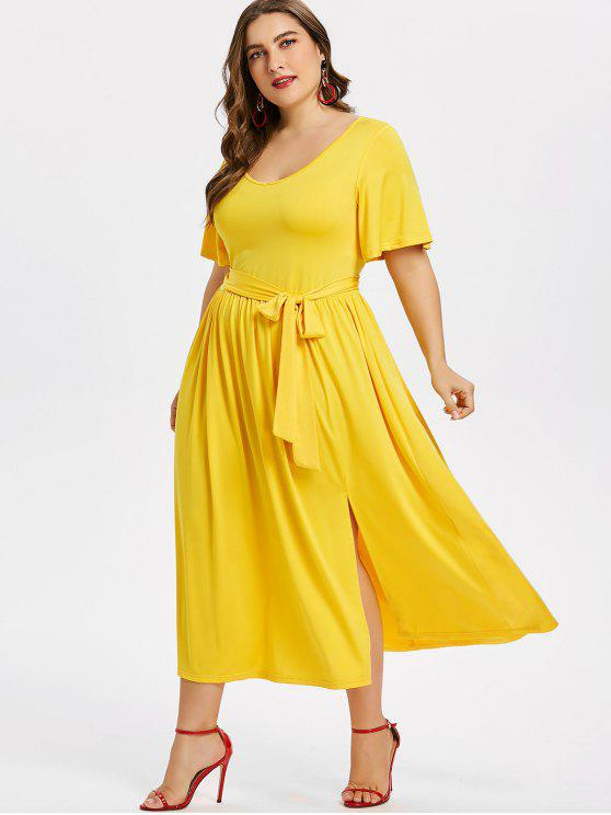 29% OFF] 2019 Plus Size Slit Belted Dress In YELLOW | ZAFUL