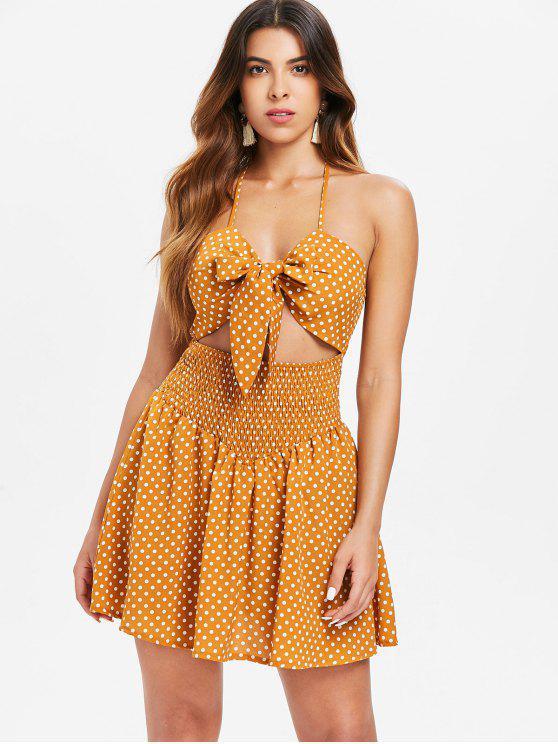 online Polka Dot Tie Front Dress - CARAMEL L