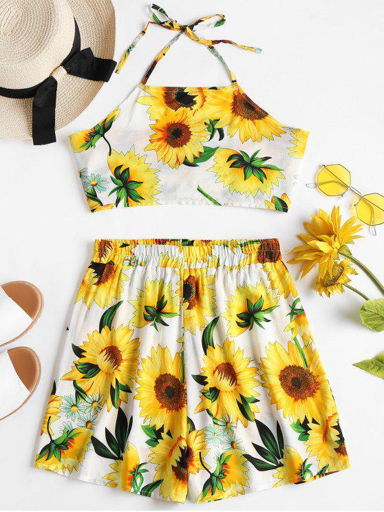 Sunflower Top Shorts Conjunto de dos piezas a juego - Multicolor S