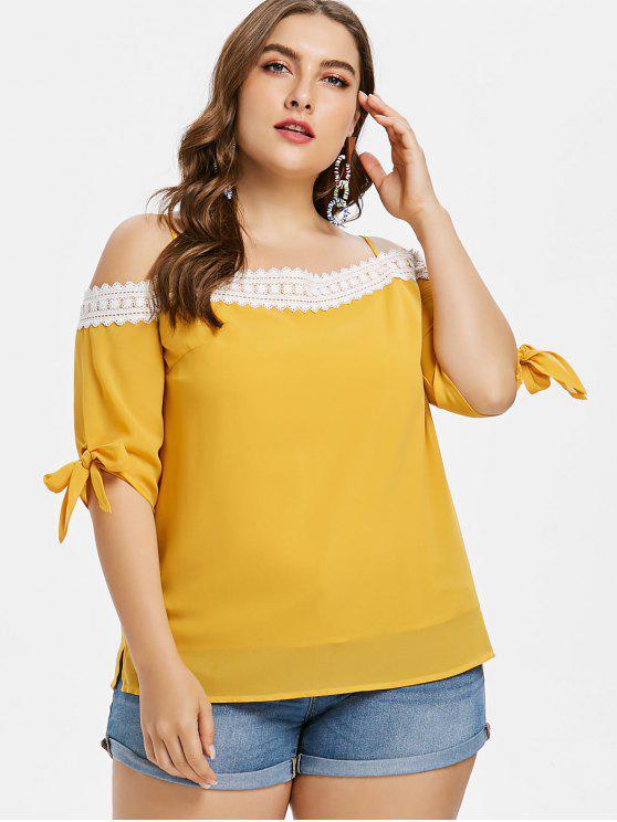 Top de encaje anudado talla grande - Amarillo Brillante 4X