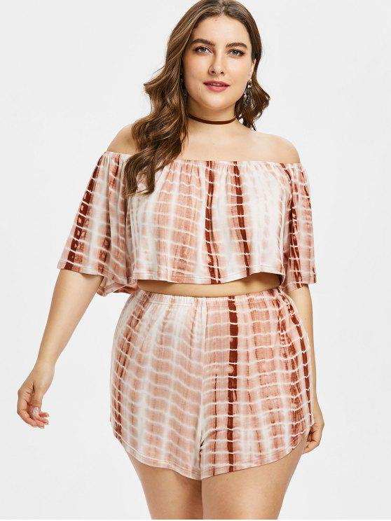 Plus Size Tie Top Dye com Shorts - Cor de Laranja de Salmon 3X