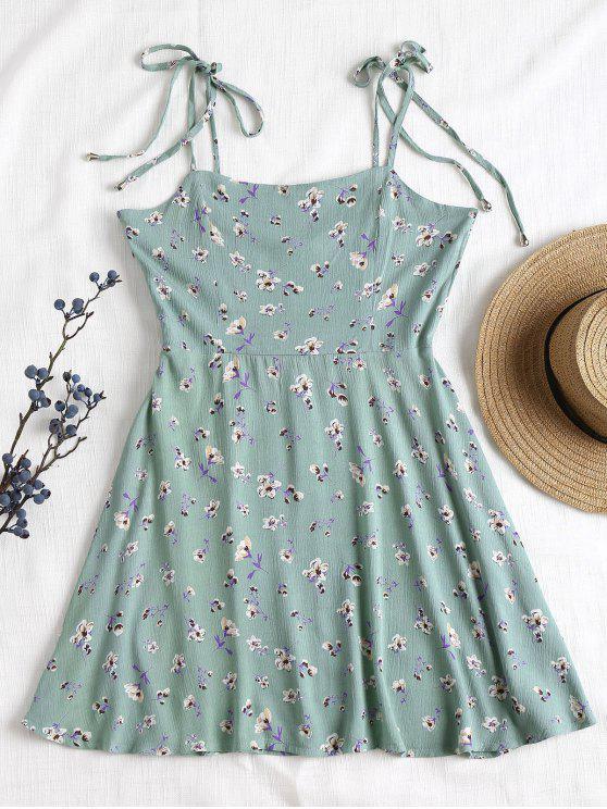 Vestido anudado floral anudado a rayas - Azul Opaco L