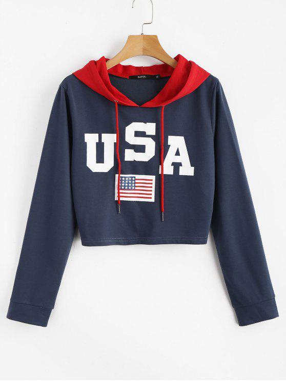 chic American Flag Patriotic Graphic Crop Hoodie - BLUE JAY S