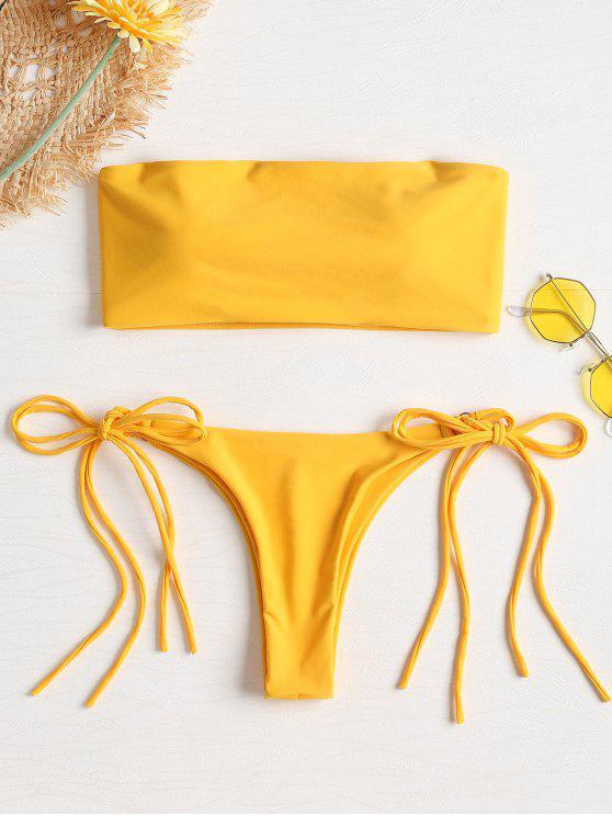 affordable Side Tie Tube Bikini - GOLDEN BROWN L