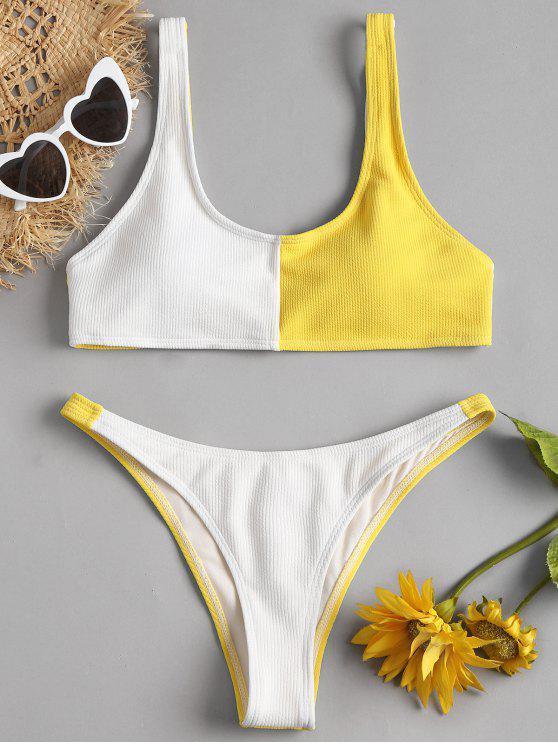 ladies Two Tone High Cut Bikini - YELLOW S