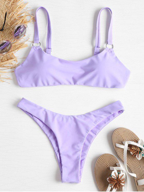 Bikini A Vita Bassa Con Anelli Metallici - Mauve L