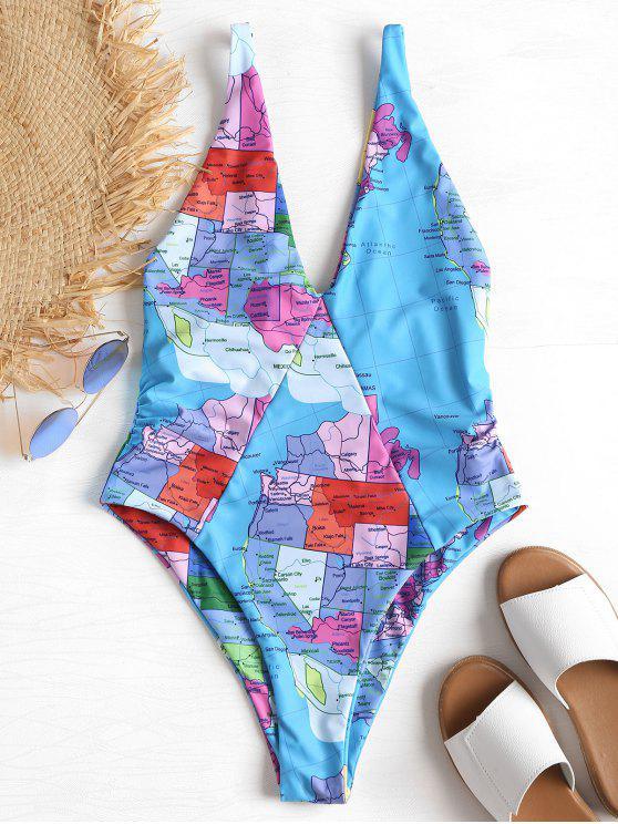 online High Cut Map Pattern Swimsuit - MULTI L