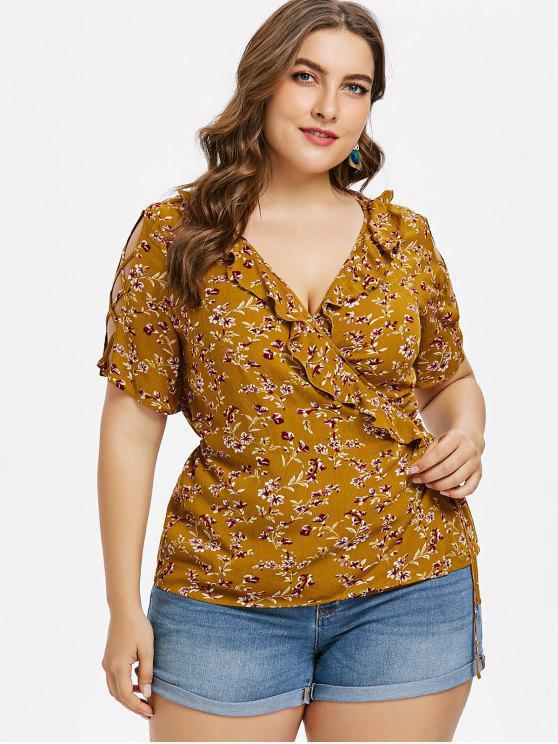 chic Plus Size Floral Surplice Ruffle Top - LIGHT BROWN 1X