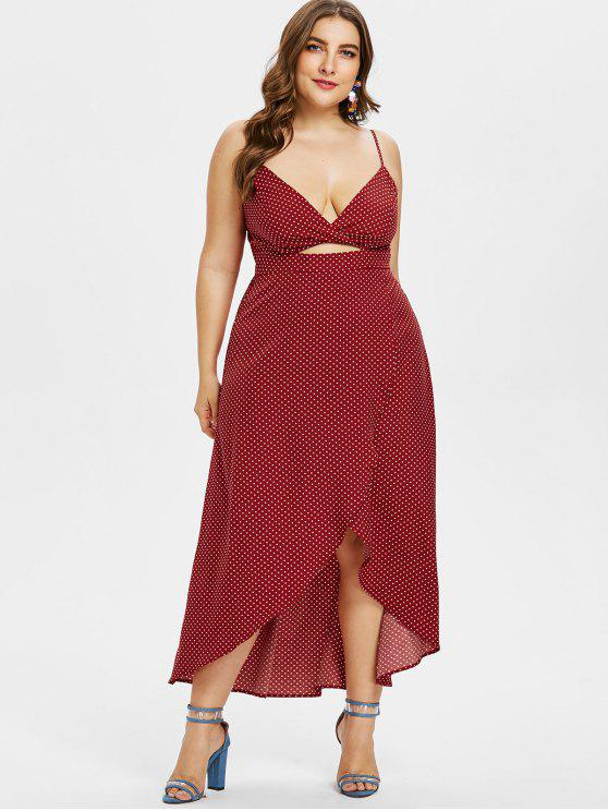 outfit Plus Size Polka Dot Asymmetric Cami Dress - RED WINE 4X