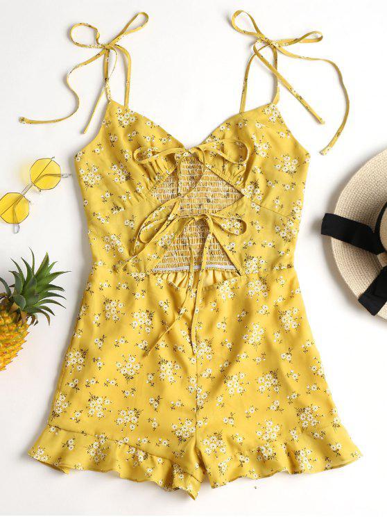 Recortar empate floral mameluco - Amarillo de Maíz M