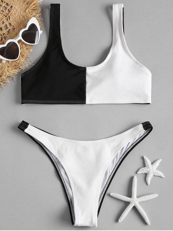 women Two Tone High Cut Bikini - BLACK M