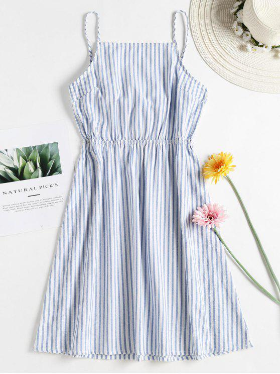 latest Knotted Stripes Cami Dress - BLUE ANGEL L