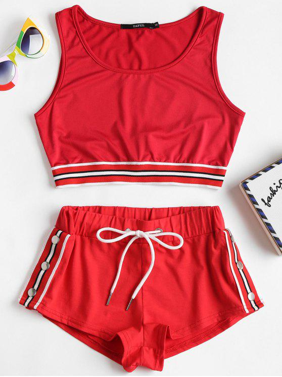 new Striped Band Crop Top Shorts Two Piece Set - LOVE RED S