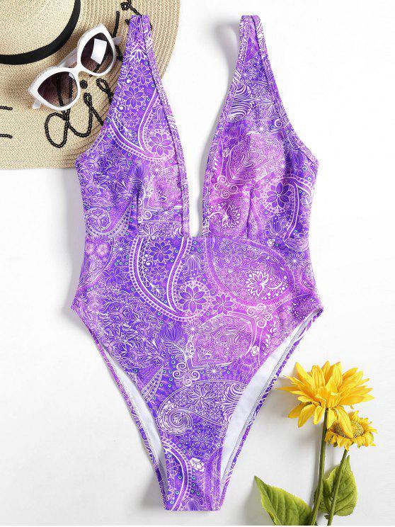 باندانا طباعة يغرق ملابس السباحة - وردة بنفسجية L
