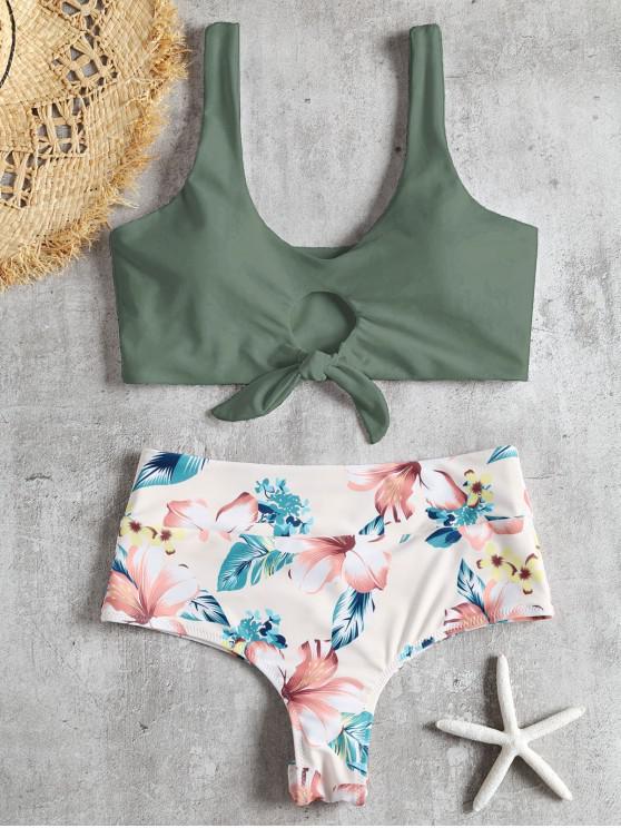 women's Knotted Floral Scrunch Butt Bikini Set - CAMOUFLAGE GREEN S