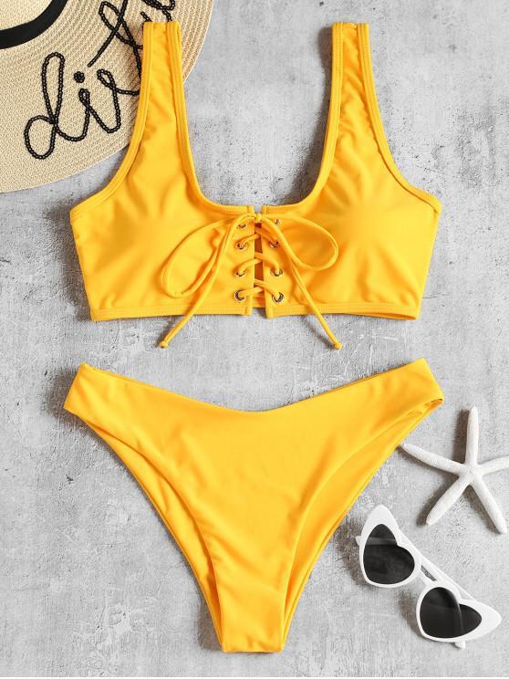 hot Lace Up Padded Bikini Set - BRIGHT YELLOW L